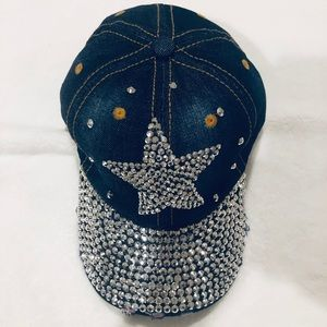 NWT! Denim Rhinestone Hat